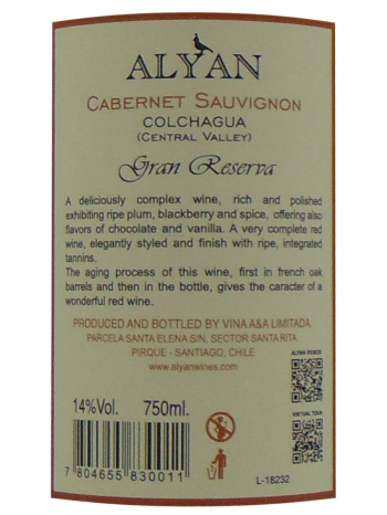 Thông tin chai ALYAN Gran Reserva Cabernet Sauvignon