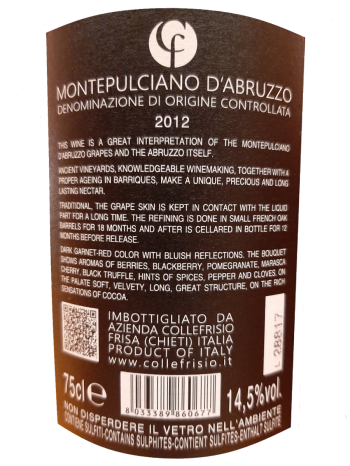 thông tin chai CF Montepulciano D'Abruzzo 2012