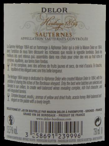 Thông tin rượu vang Delor Héritage 1864 Sauternes