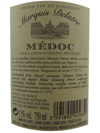 Thông tin rượu vang Marquis Delatre Médoc