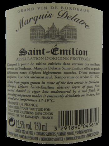 Thông tin rượu vang Marquis Delatre Saint Emilion