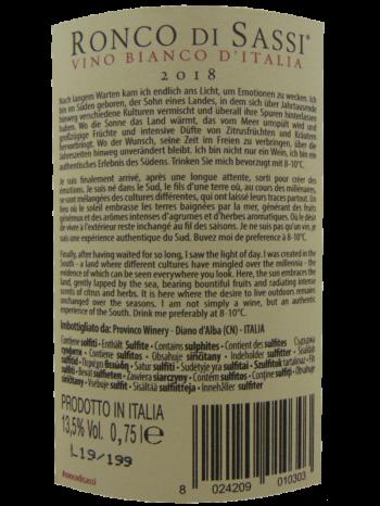 Thông tin rượu vang Ronco Di Sassi Bianco