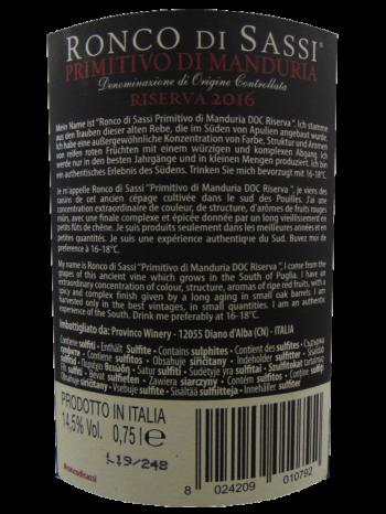 Thông tin rượu vang Ronco Primitivo di Manduria DOC Riserva 2016