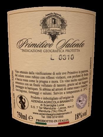 Thông tin rượu vang Bramato Primitivo